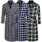 Men Tartan BathRobe Avidlove Sleepwear Pajama Fleece Gown Plaid Long Robe Blue