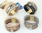 Brand New Punk Cool Multilayer Crystal Leather Bracelet Cuff Wristband Bangle