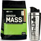 ON Optimum Nutrition Serious Mass 5.4kg Weight Gainer + PhD Stainless Steel Shak