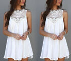 NEW SUMMER WOMEN LADIES BOHO HIPPIE LACE CHIFFON DRESS Party Top PLUS SIZE