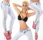 Women's Slim Skinny Side Cut-Out with Beads Stretch Jeans - XS / S / M / L / XL
