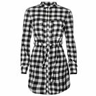 Rock and Rags Womens Gingham Shirt Cotton Dress Long Sleeve Button Front