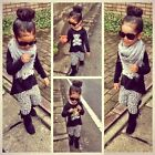 2PCS Toddler Kids Baby Girls Outfits T-shirt Tops+Leopard Pants Clothes Set 1-6Y