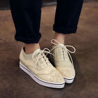 Oxford Womens Pointed Toe Platform Lace Up Flat Brogues Wingtip College Shoes