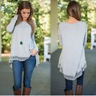 HOT Women's Lady Loose Long Sleeve Cotton Casual Blouse Shirt Tops Blouse