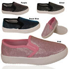 GIRLS KIDS GLITTER SLIP ON PUMPS FLAT PLIMSOLLS SKATER TRAINERS PLIMSOLES SHOES