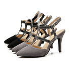 Ladies' Pointed Shoes Faux Suede High Heels Slingback Strap Sandals UK Size S609