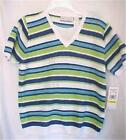 Size PS PXL Striped Knit Top Alfred Dunner Green Blue Aqua White New with Tags