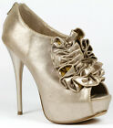 Gold Ruffle Open Toe Platform Ankle Bootie Boot 6.5 us QUPID NEUTRAL-141