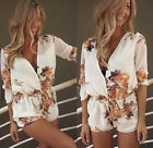 Fashion Womens White Floral Mini Playsuit Jumpsuit Summer Shorts Beach Dress HOT