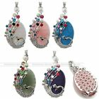RARE Multicolor Crystal Peacock Silver Oval Bead Gemstone Pendant Free Shipping