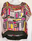Ladies Size PP PM Petite Medium Silky Top Hot Pink Black Print Rafaella New Tag