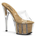 "7"" Clear Platform Heels with Tan Cork Large Size Drag Queen Stripper Shoes 11 12"