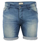 Mens Denim Faded Roll Up Short By Brave Soul