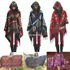 Women Hooded Fringed Shawl Chic Toggle Poncho cape Tribal Boho Shawl Scarf Scarf
