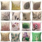 Cotton Linen Forest Leaf Throw Pillow Case Sofa Back Cushion Cover Home Decor