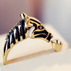 Gold/silver Animal Horse Head Open Rings Crystal Women Fashion Jewelry Rings