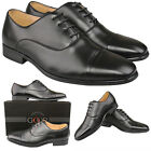 Mens New Black Leather Lined Toe Capped Oxford Smart Shoes FREE EXPRESS DELIVERY