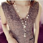 Fashion Daisy Flower White Pearl Long Sweater Chain Necklace Five Petals Jewelry