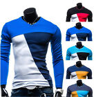 New Mens Fashion Slim Fit Cotton V-Neck Long Sleeve Casual T-Shirt Tops 4 Size
