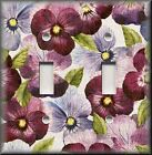 Floral Home Decor - Light Switch Plate Cover Purple Violet Pansy Flowers Pansies