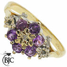 BJC® 9ct Yellow gold Amethyst & Diamond Daisy Cluster engagement ring R251