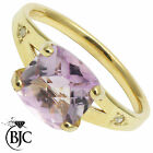 BJC® 9ct Yellow gold Amethyst & Diamond Accented Solitaire engagement ring R260