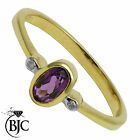 BJC® 9ct Yellow gold Amethyst & Diamond Trilogy Three Stone ring R268
