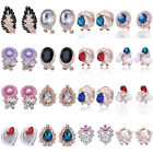 Womens Leaf Gold Plated Ear Stud Earring Clip-on Crystal Rhinestone Jewelry Gift