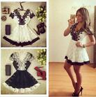 New Women Sexy Short Sleeve Deep V collar stitching lace summer party dress