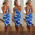 POP Women's Sexy V-Neck Backless Straps Floral Printed Cocktail Party Dress - CB
