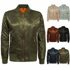 New Ladies Womens MA1 Quilted Padded Satin Retro Vintage Zip Bomber Jacket Top