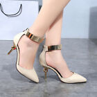 Sexy Pointed High-Heels Stiletto Toe Pump Women's Strappy Ankle Strap Shoes