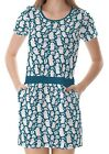 Teal White Ghosts Pattern Women's Clothing Top Dress With Pockets