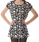 Black White Skull Pattern Women's Clothing Puff Sleeve One Piece Dress