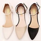 BN Women's Pointed Toe Fashion Ankle Strap Ballet Flats Mary Janes Dress Shoes
