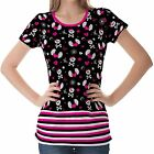 Black Skull Emo Symbols Womens Ladies Short Sleeve Top Shirt Blouse