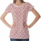 White Red Christmas Pattern Womens Ladies Short Sleeve Top Shirt Blouse
