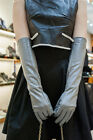 """47cm(18.5"""")long winter warm long lines style top goat leather gloves light grey"""