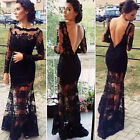LL Sexy Hot Women Maxi Lace Hollow Out Backless Cocktail Party Dresses Prom Long