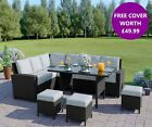 Rattan Corner Garden Sofa Dining Table Set Furniture Black Brown Grey FREE COVER