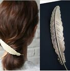 Fashion Ladies Feather Design Alloy Hair Pin Clips Long Barrette Silver/Golden