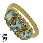 BJC® 9ct Yellow gold Blue Topaz & Diamond Gypsy size L engagement ring R202