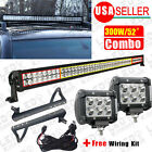 "52"" 300W+2X 18W Spot LED Light Bar+Mounting Bracket+Wiring for JEEP JK Wrangler"