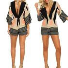 Sexy Women Stripe Print Plunge V Neck Bell Sleeve Bodycon Jumpsuit Rompers R1L3