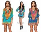 Women Bohemian Neck Tie Vintage Printed Ethnic Style Summer Shift Dress S-L