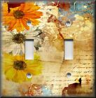 Light Switch Plate Cover - Floral Home Decor - Vintage Daisy - Orange Yellow