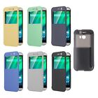 Flip PU Leather Windows View Hard Clear Back Skin Cover Case For HTC One 2 M8