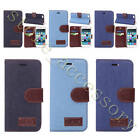 Premium Denim Jeans Soft Interior Flip Card Slot Cover Case Stand F Smart Phones