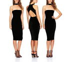 Summer Womens Black Halter Sleeveless Cocktail Party Club Dresses Casual Bodycon